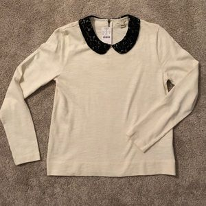 a8e0a12903c J. Crew Factory Tops | J Crew Factory Peter Pan Lace Collar Top ...
